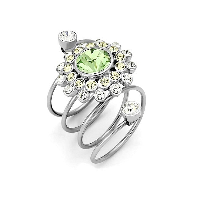 Exquisite Silver Tone Modern Fashion Ring Peridot Crystal