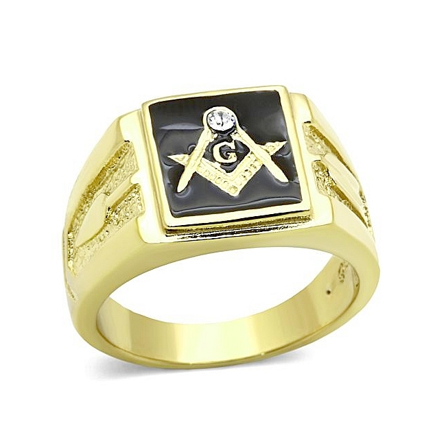 Extraordinary 14K Gold Plated Masonic Mens Ring Clear Crystal