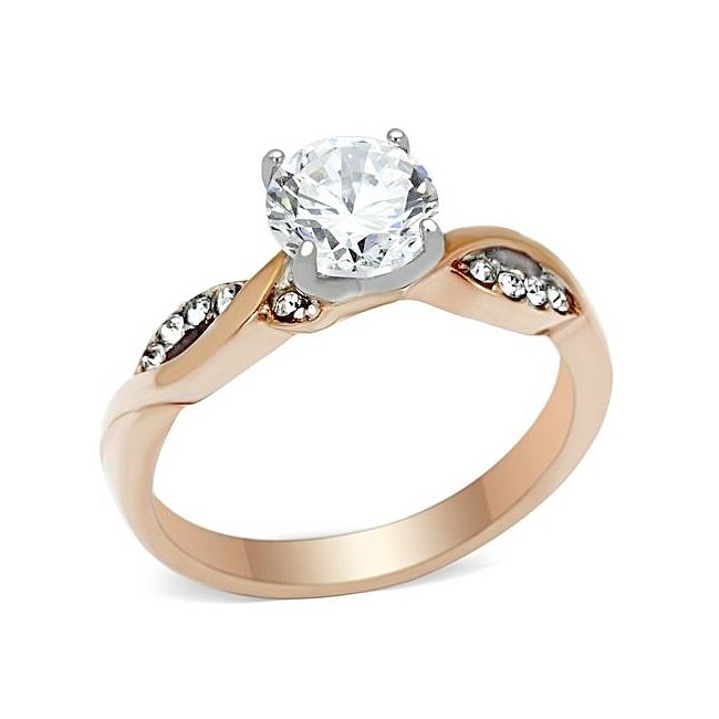 14K Two Tone ( Rose & Silver) Solitaire Engagement Ring Clear CZ