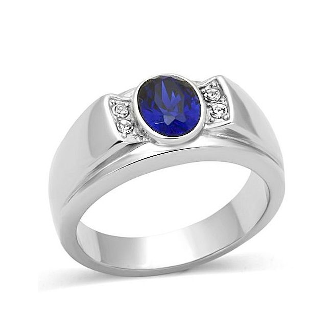 Petite Silver Tone Mens Ring Montana Synthetic Glass