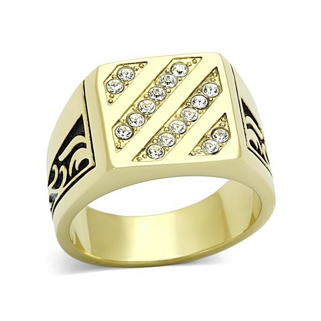 14K Gold Plated Square Mens Ring Clear Top Grade Crystal