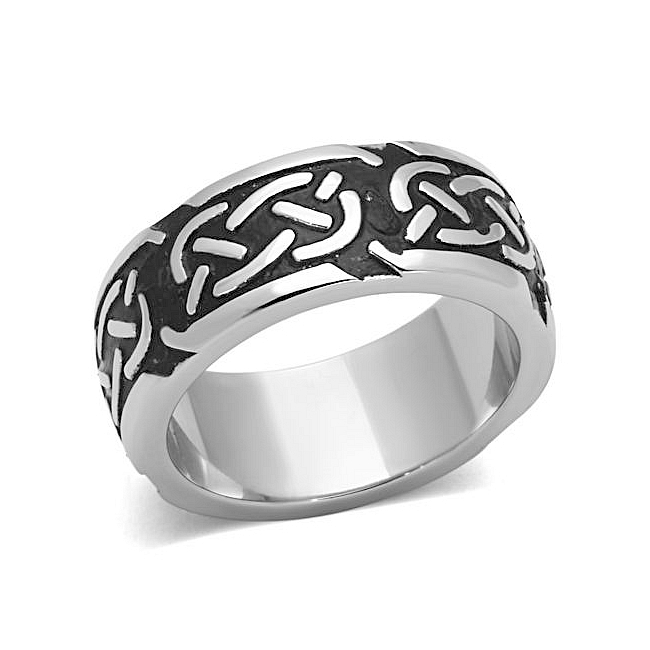 Silver Tone Vintage Mens Ring Black Epoxy