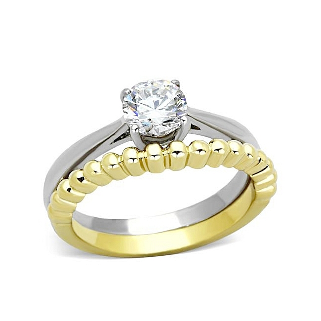 14K Two Tone ( Gold & Silver) Pave Engagement Wedding Ring Set Clear CZ