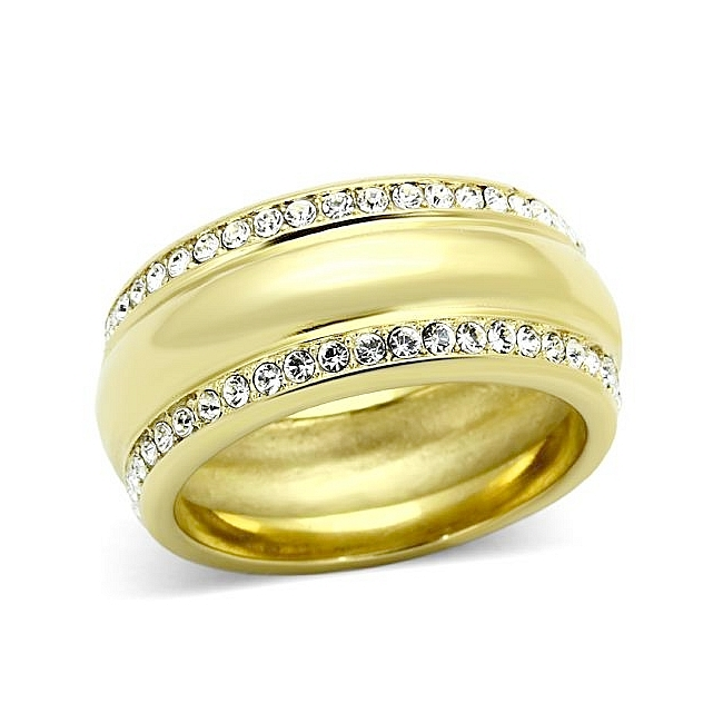 Fancy 14K Gold Plated Pave Wedding Ring Clear Crystal