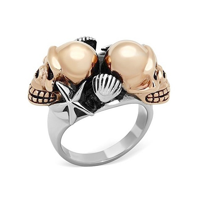 Extraordinary 14K Two Tone (Rose Gold & Silver) Skull Fashion Ring