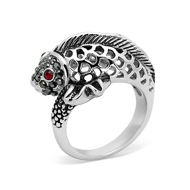 Silver Tone Fish Animal Fashion Ring Siam Crystal