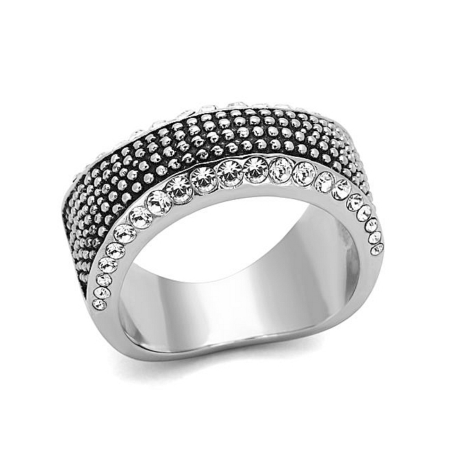 Petite Silver Tone Band Fashion Ring Clear Crystal