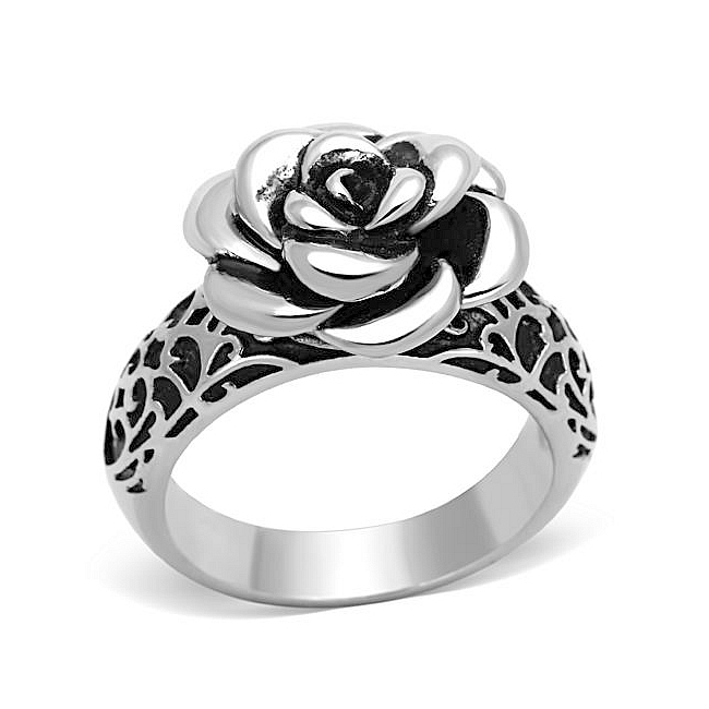 Silver Tone Flower Fashion Ring Black Epoxy