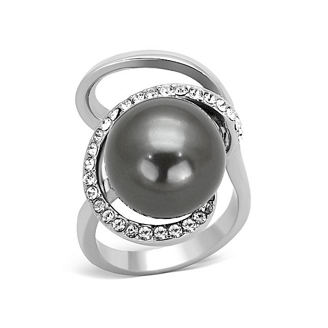Silver Tone Fashion Ring Gray Synthetic Pearl