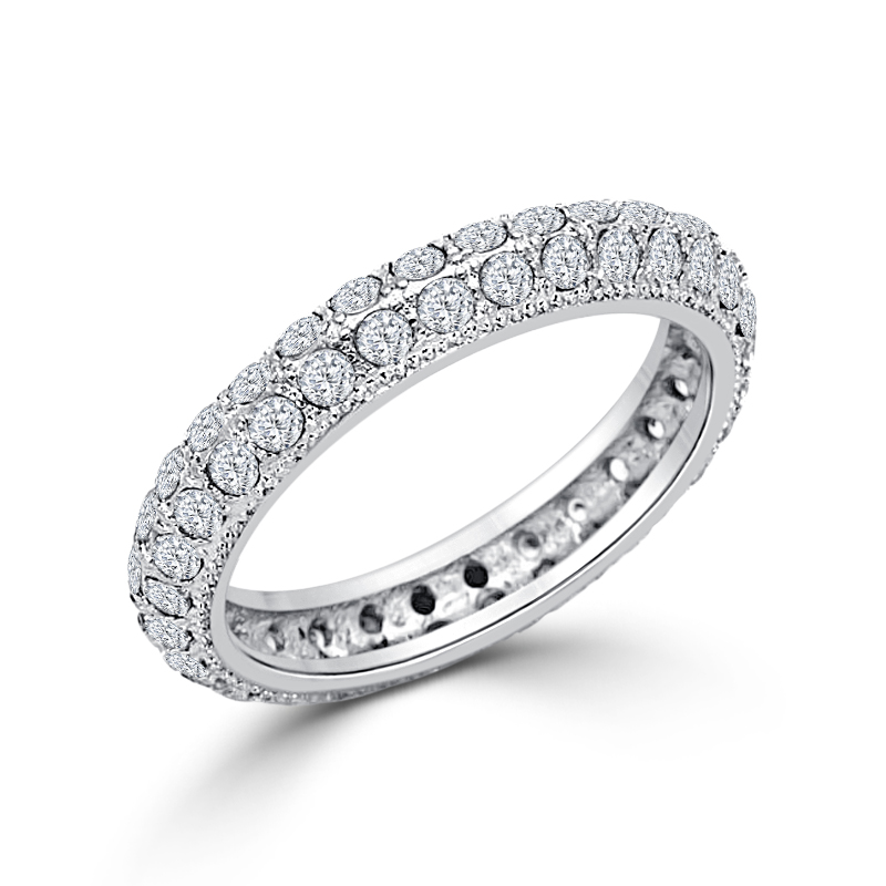 Silver Tone Eternity Wedding Ring Clear CZ