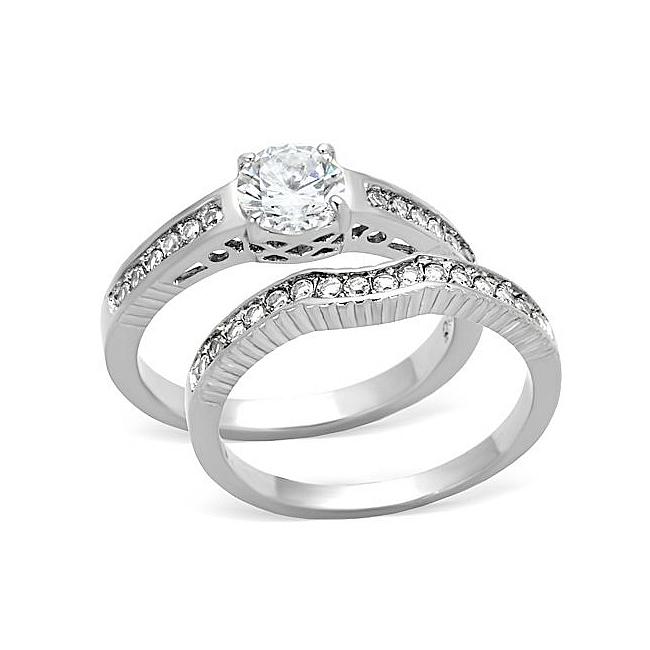 Art Deco Engagement Wedding Ring Set Cubic Zirconia