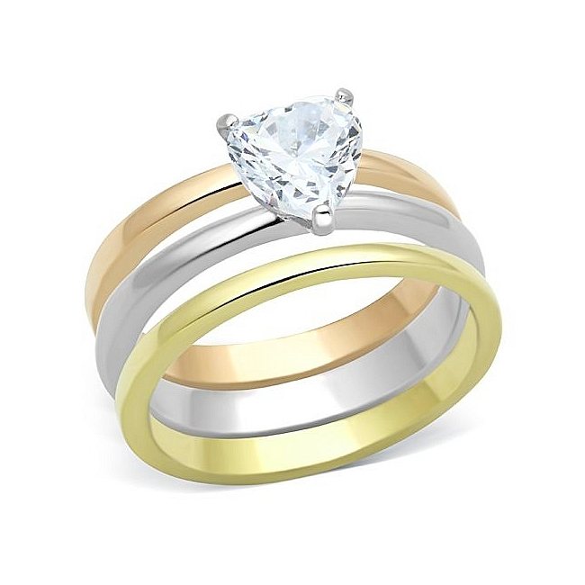 Stylish Ion Tri Tone (Gold & Rose Gold & Silver) Solitaire Engagement Wedding Ring Set Clear CZ