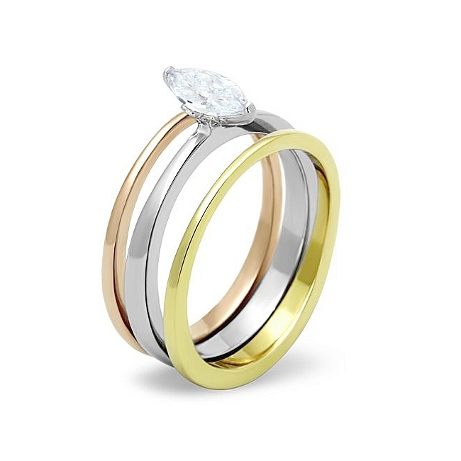 Ion Tri Tone Gold Rose Gold Silver Solitaire Engagement