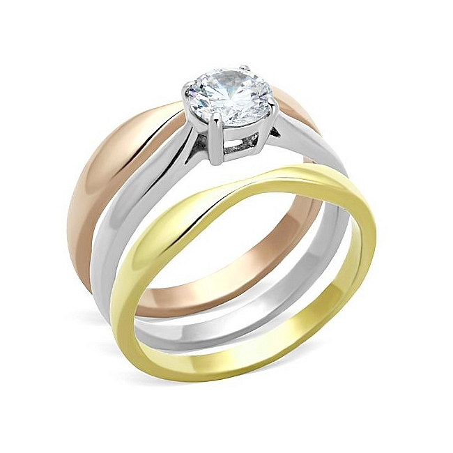 Stunning Ion Tri Tone (Gold & Rose Gold & Silver) Solitaire Engagement Wedding Ring Set Clear CZ