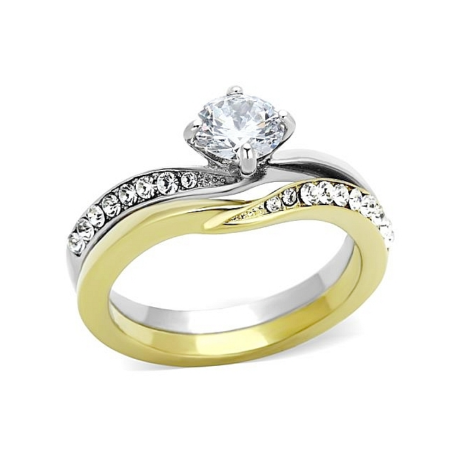Unique Two Tone East-West Engagement Wedding Ring Set