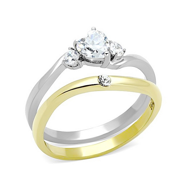 Exclusive Solitaire Heart Wedding Set Two Tone Gold Plated