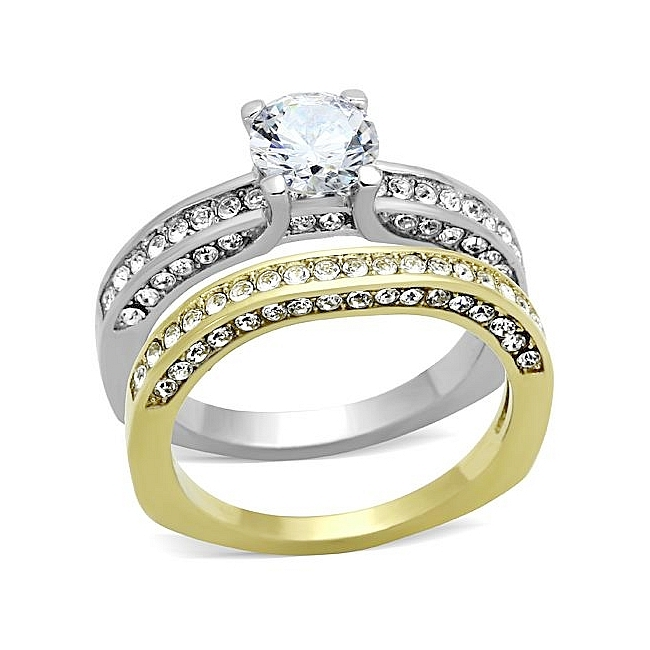 Exquisite Two Tone Pave Engagement & Wedding Ring Set