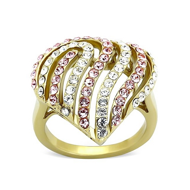 14K Gold Plated Fashion Ring Light Rose Crystal