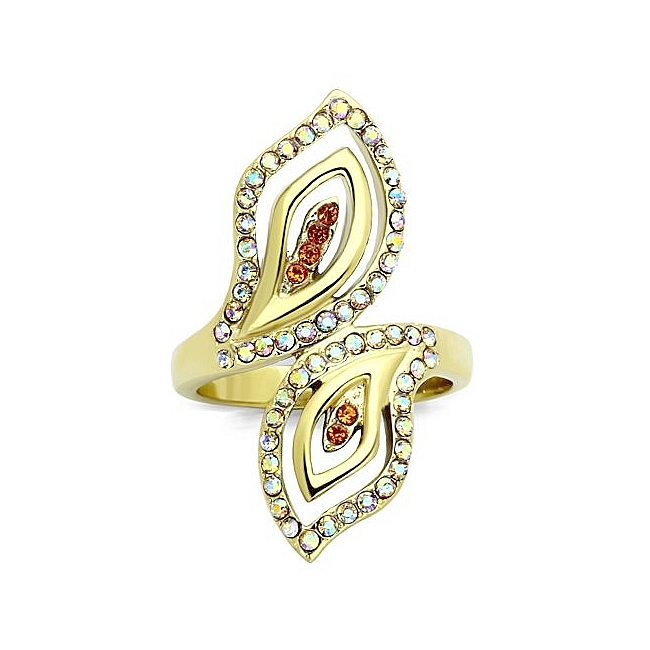14K Gold Plated Modern Fashion Ring Multi Color Crystal