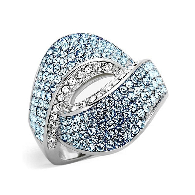 Extraordinary Silver Tone Pave Fashion Ring Aqua Crystal