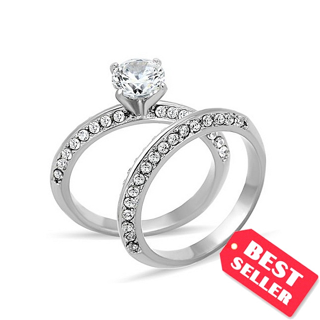 Knife Edge Pave CZ Engagement Wedding Ring Set