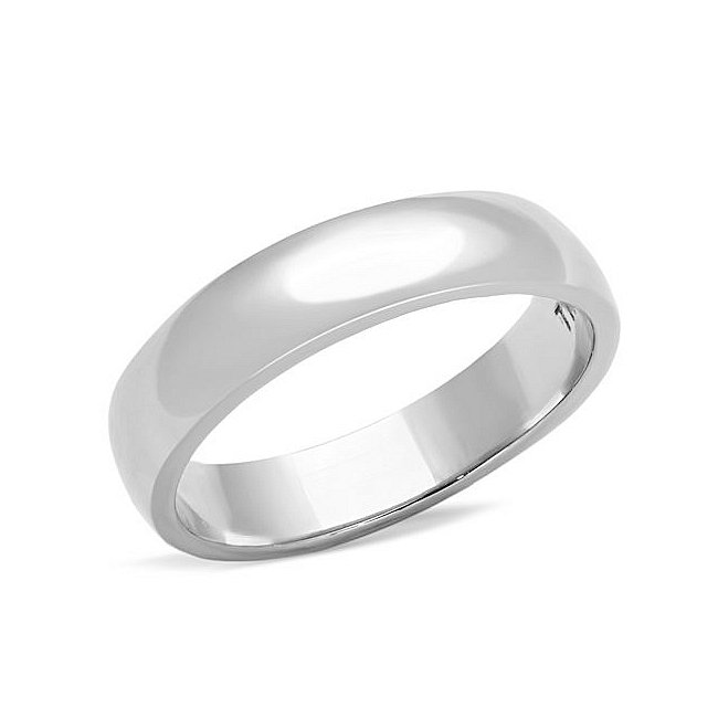 Classic Silver Tone Plain Wedding Band Ring