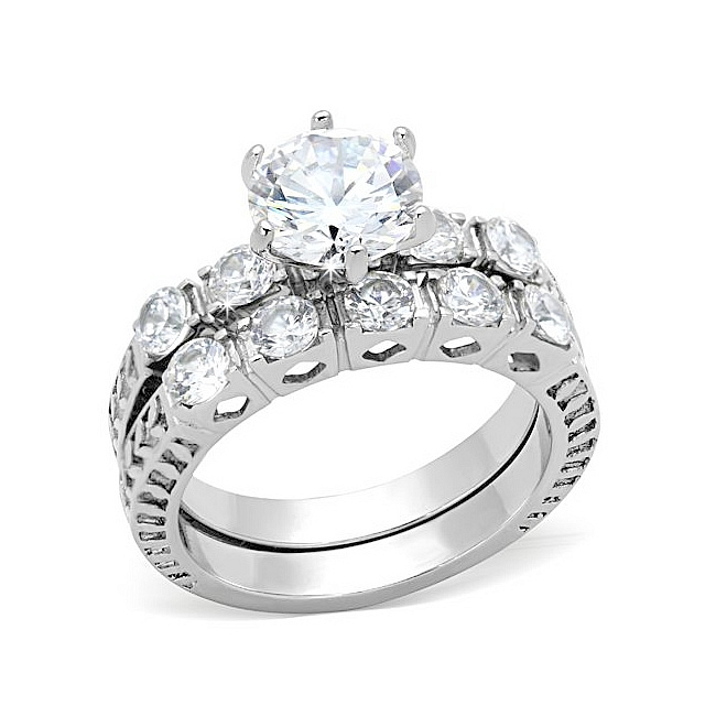 Extravagant Tiffany Style Engagement Wedding Ring Set