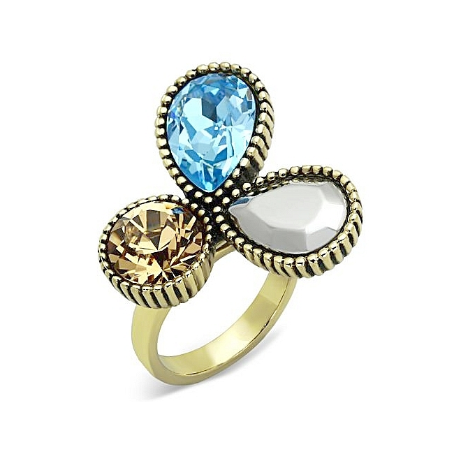 14K Gold Plated Flower Fashion Ring Multi Color Crystal