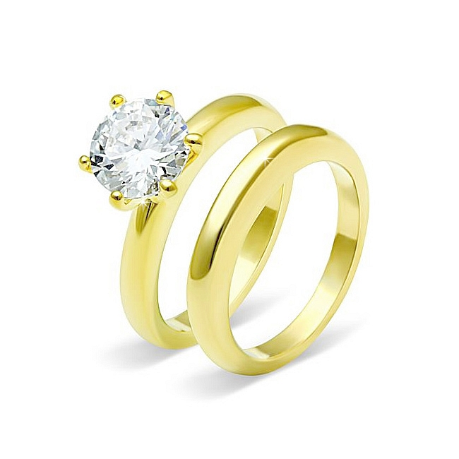 Classic Solitaire 14K Gold Plated Wedding Set Ideal cut CZ