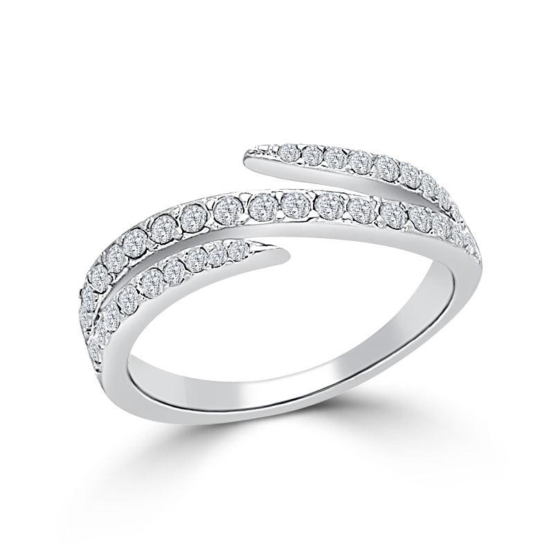 Fancy Silver Tone Pave Wedding Ring Clear Crystal