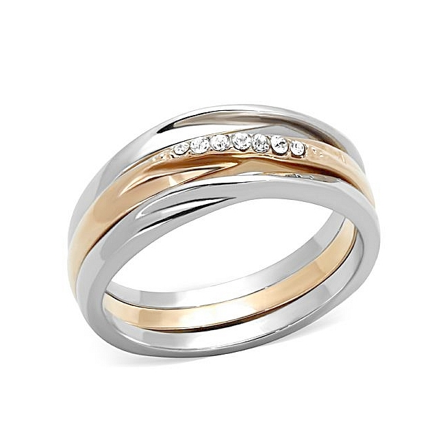 14K Two Tone (Rose Gold & Silver) Wedding Ring Clear Crystal