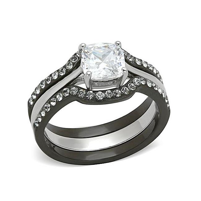 Black Silver Tone Princess Cut Wedding Ring Set Clear Cz