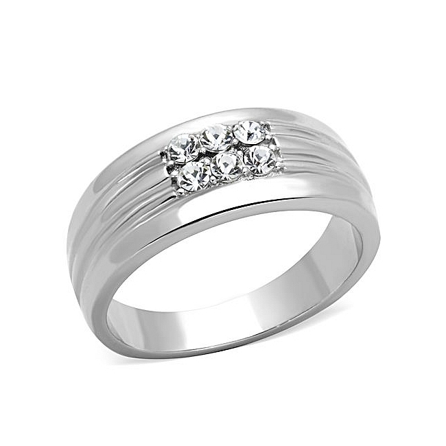 Extraordinary Silver Tone Band Mens Ring Clear Crystal