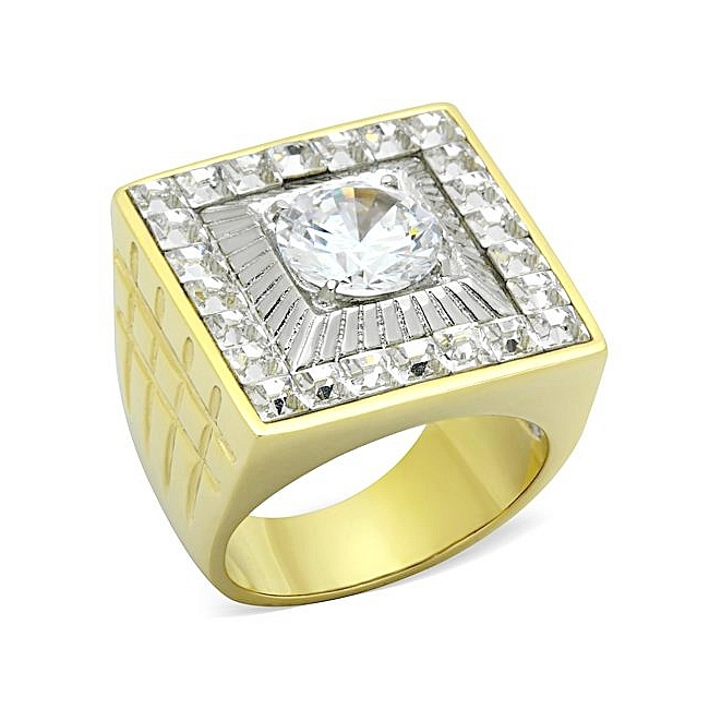 14K Two Tone (Gold & Silver) Square Mens Ring Clear CZ