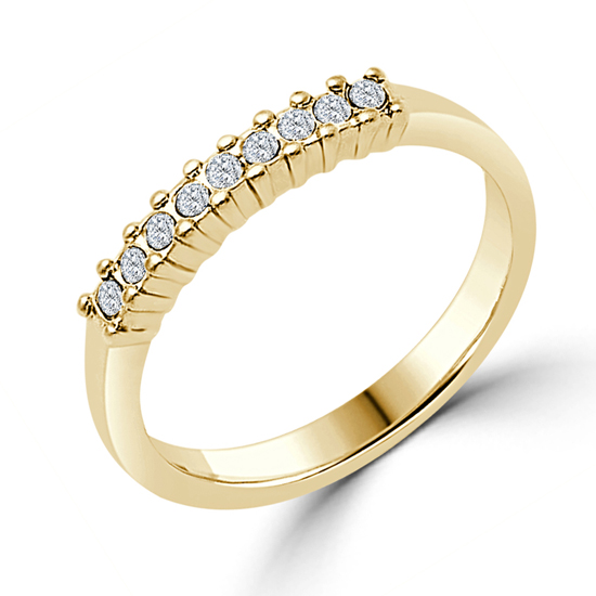 14K Gold Plated Wedding Ring 1CT Clear Crystal