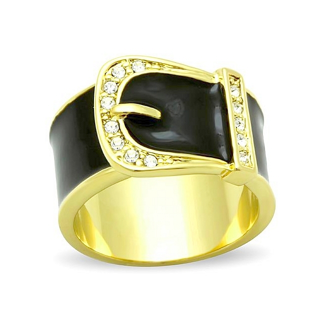 14K Gold Plated Band Fashion Ring Clear Crystal