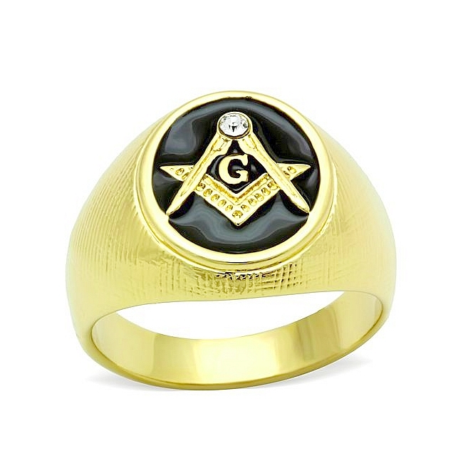 14K Gold Plated Masonic Mens Ring Clear Crystal