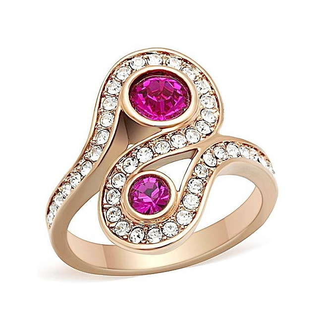 14K Rose Gold Plated Fashion Ring Fuchsia Crystal