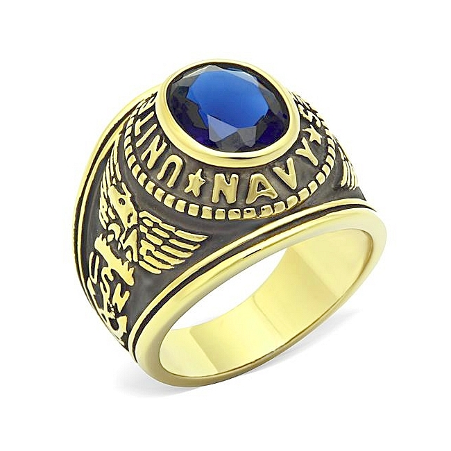 14K Gold Plated Army / Military Mens Ring Montana Synthetic Glass