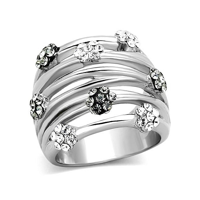Silver Tone Fashion Ring Black Crystal
