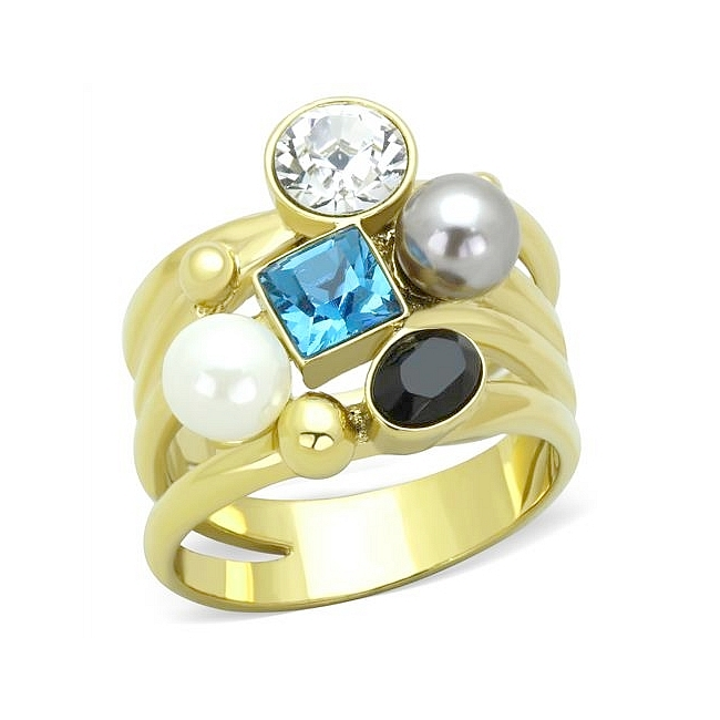 14K Gold Plated Fashion Ring Multi Color Synthetic Pearl