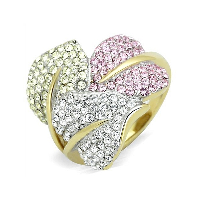 Lovely 3 Leaf Fashion Ring with Multi Color Crystal Pave