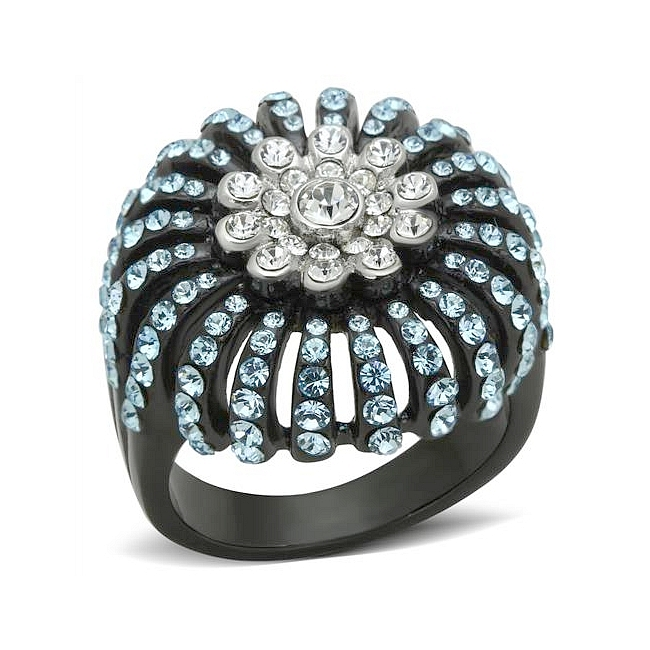 14K Two Tone (Black & Silver) Pave Fashion Ring Sea Blue Crystal
