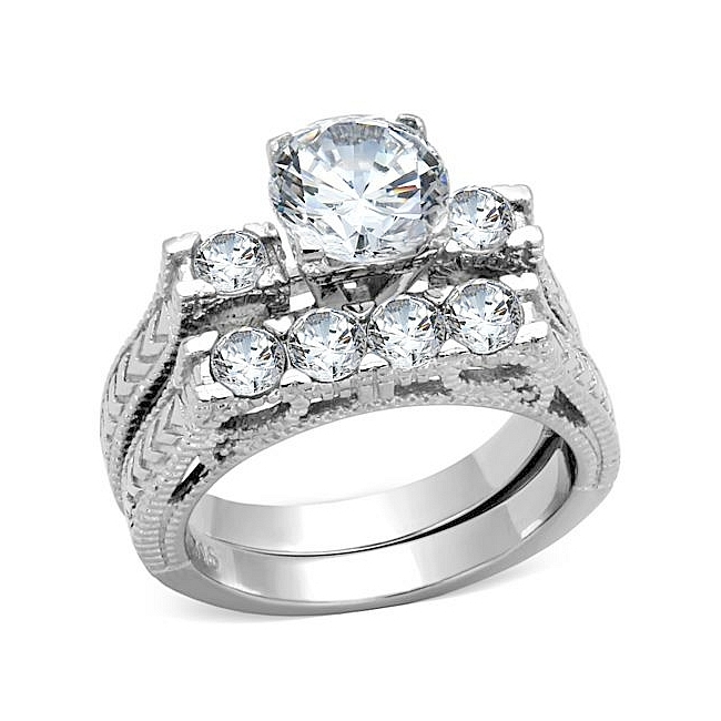 Stunning Silver Tone Pave Engagement Wedding Ring Set Clear CZ