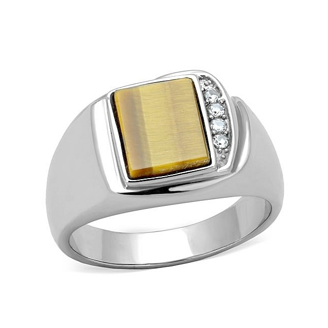 Silver Tone Square Mens Ring Topaz Synthetic Tiger Eye