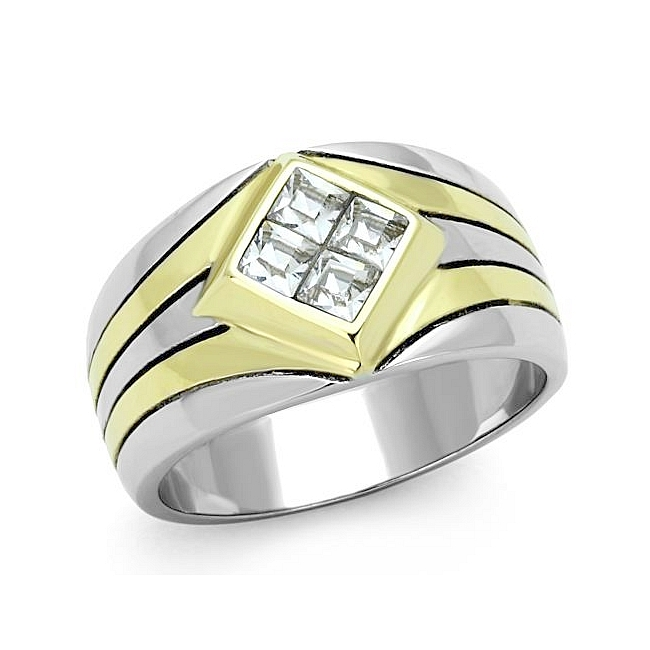 14K Two Tone (Gold & Silver) Masonic Mens Ring Clear Crystal