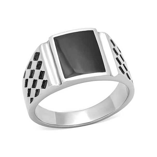 Silver Tone Square Mens Ring Black Epoxy