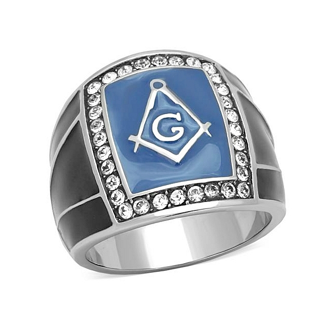 Elegant Silver Tone Masonic Mens Ring Clear Crystal