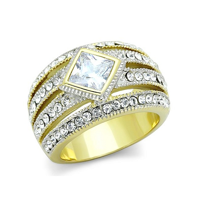 Exclusive 14K Two Tone (Gold & Silver) Band Fashion Ring Clear CZ