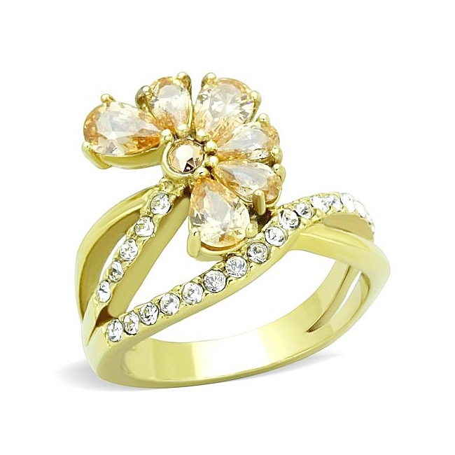 14K Gold Plated Flower Fashion Ring Champagne CZ